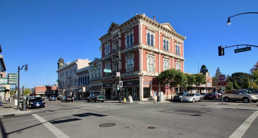 Victorian-era buildings line Petaluma's downtown core