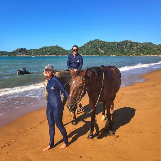 Riding at Horseshoe Bay, wearing stinger suits to protect against jellyfish. Tim Downs photo.