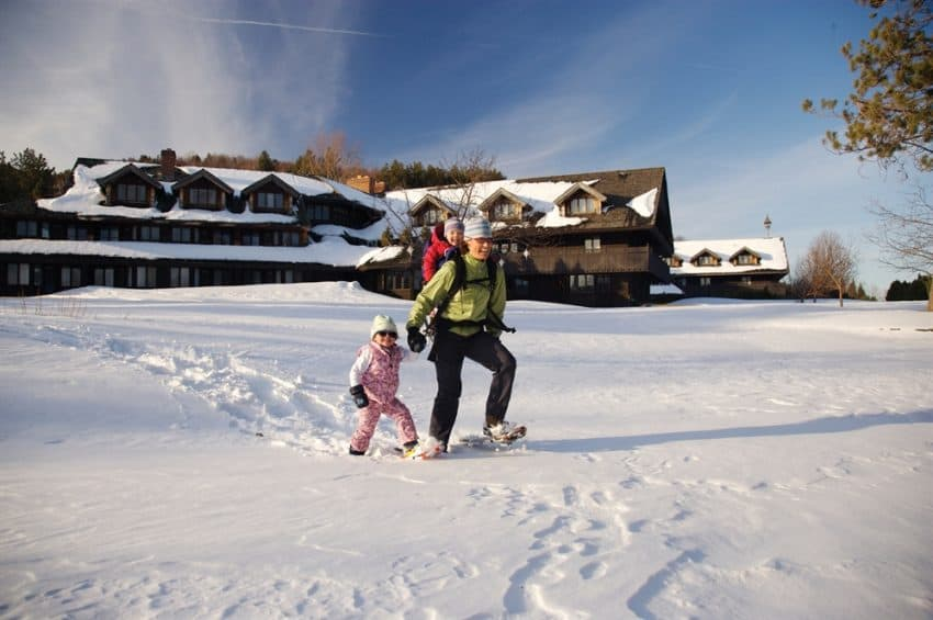 Snowshoeing outside the von Trapp Family Lodge in Stowe, Vermont.