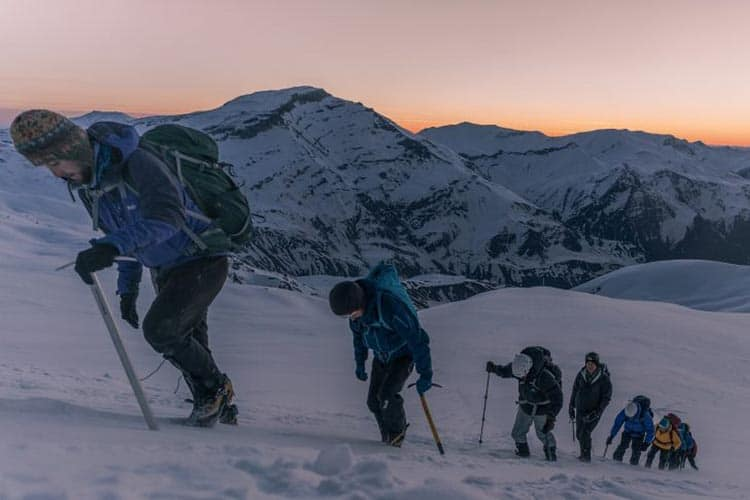The Secret Compass team making their way up to the summit. Martin Hefti/Secret Compass photos.