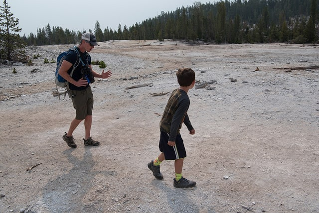 Walking in Yellowstone National Park.