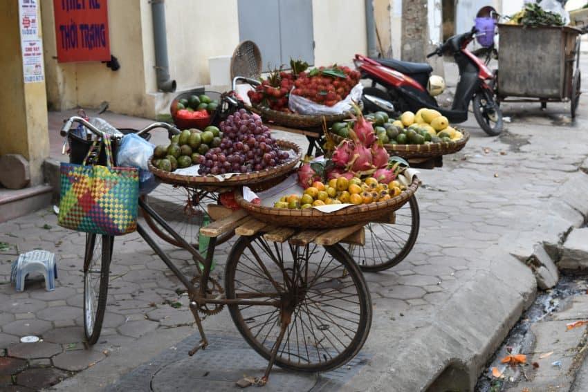 Bikes with fruit in Hanoi.