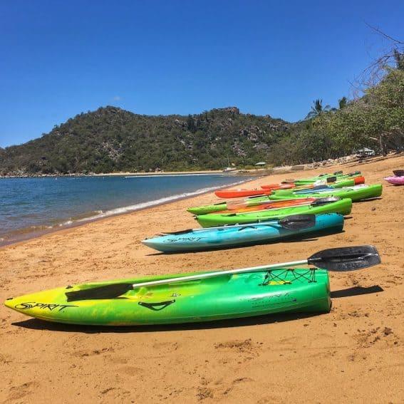 Kayaks await on Horseshoe Bay.