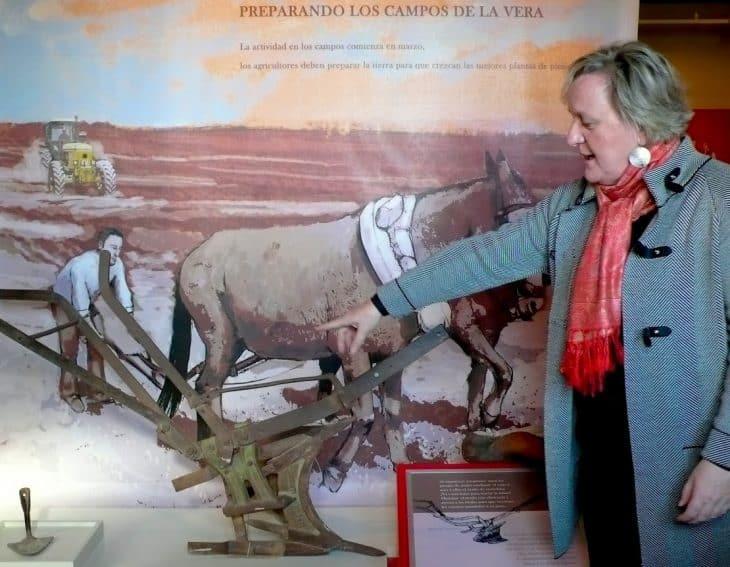 Museum director Carmen Jimenez explains how paprika is produced at Pimentón de la Vera Museum in Cáceres, Spain.