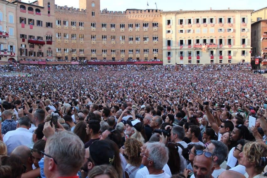 The huge crowd in the center of Siena awaiting the bi-annual Il Palio horse race. Eric Sweigert photos.