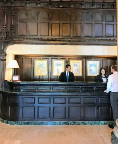 Mahogany reception desk at the Biltmore hotel.