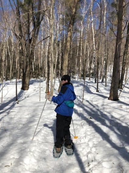 Snowshoeing at the Trapp Family Lodge in Stowe, Vermont. Shelley Rotner photos.