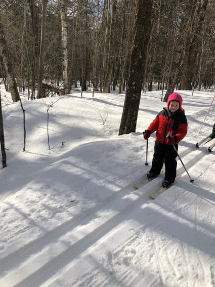 Cross country skiing is fun at the Lodge, no matter how old you are!
