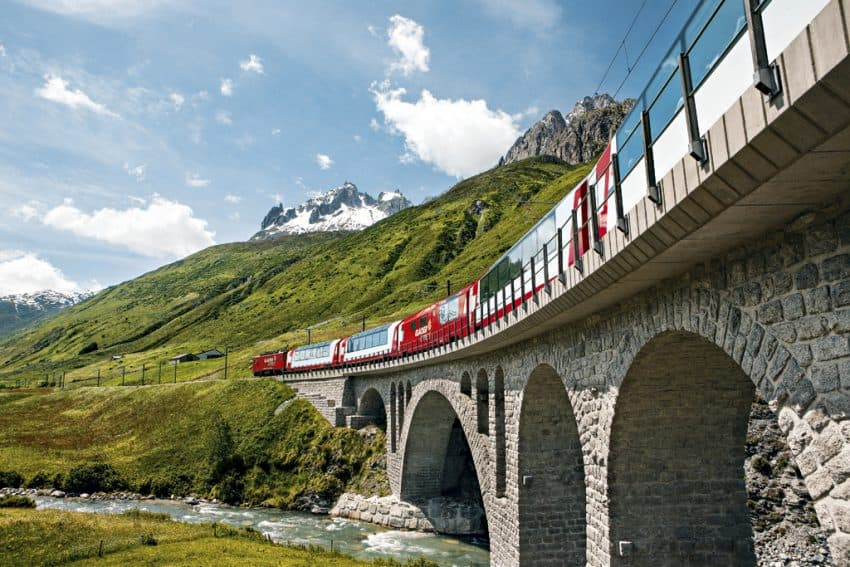 The Glacier Express near Hospental in the Urseren Valley. Photo from Swiss Travel System.