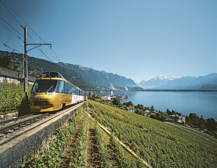 Enjoy panoramic views when traveling by train. Photo from Swiss Travel System.