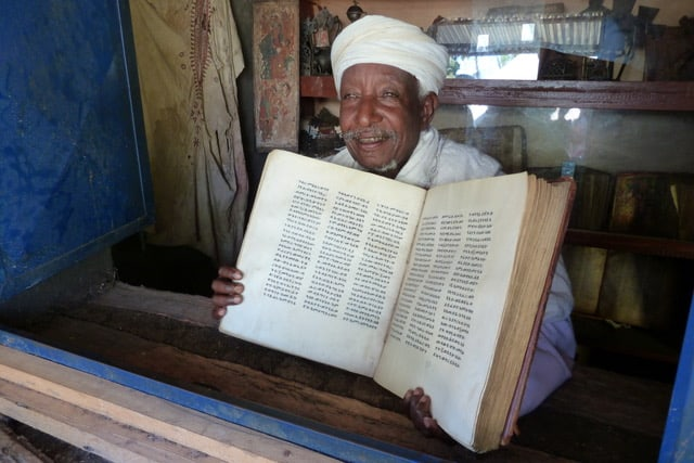 A religious tome in Ge'ez, the language of the Ethiopian Orthodox Church.