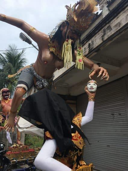 "Paper Maiche ""Ogoh Ogoh"" effigies parade through Balinese villages ahead of the annual Nyepi celebration. Jackie Cohen Photo   GoNOMAD Travel"
