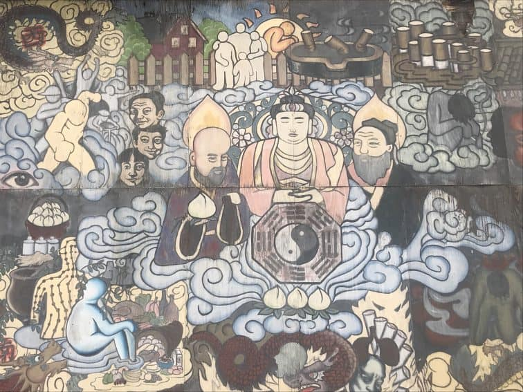 A mural in the center of Boston's Chinatown