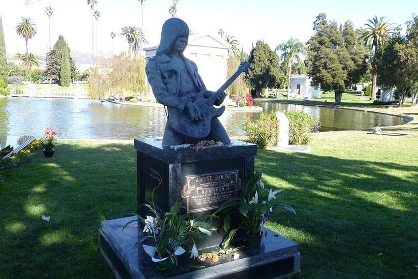 Jonny Ramone statue at the Hollywood Forever Cemetery, Los Angeles. Photo courtesy of Kara Thornton.