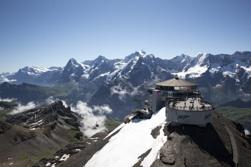 The snowy peaks of Mount Schilthorn. Photo from Swiss Travel System.