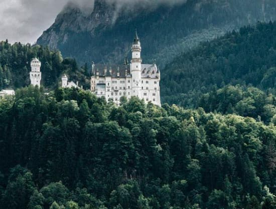 Schloss Neuschwanstein, a 19th-century Romanesque Revival palace in Germany.