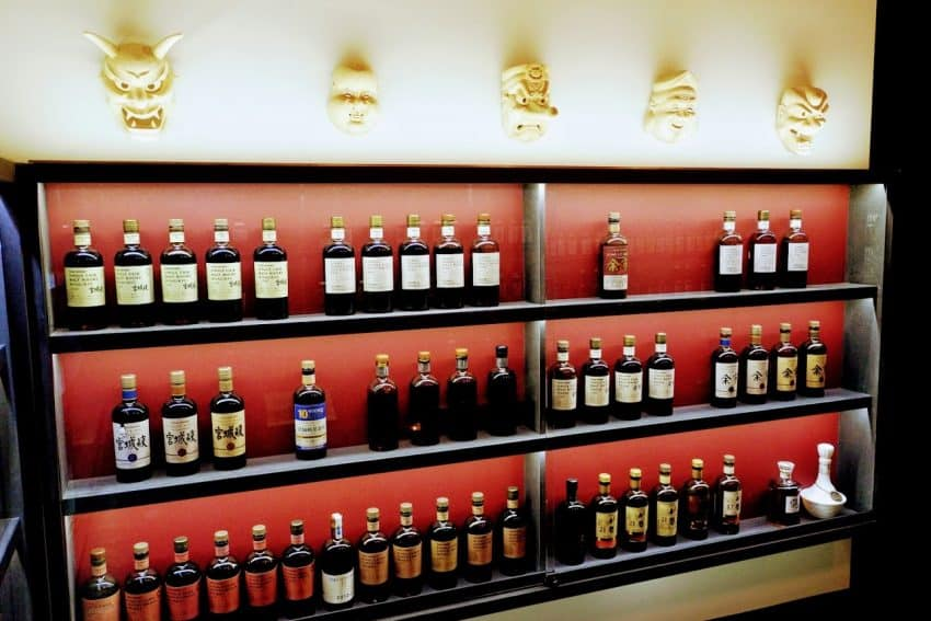 Liquor bottles in the Japanese room at the Golden Promise in Paris.
