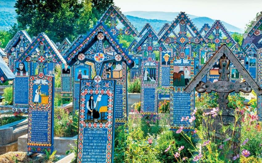 Beautiful headstones at Cimitirul Vesel, Romania. Photo courtesy of Kara Thornton.