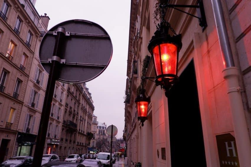 Hanging Red Lanterns outside Maison Souquet in Paris.