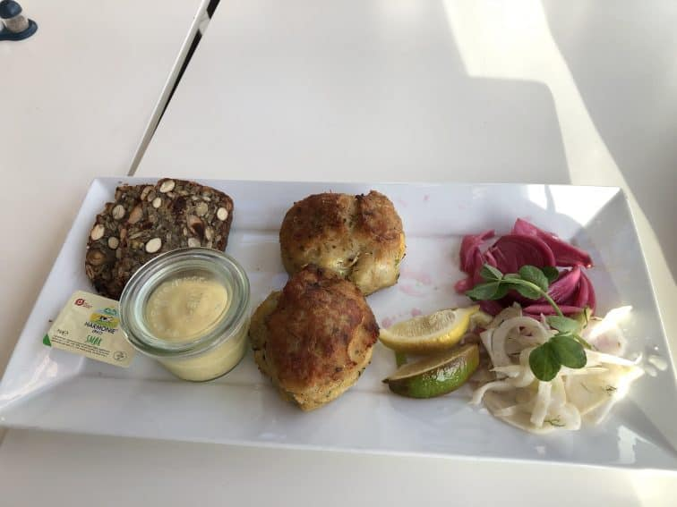 A plate of fiskefrikadeller at the cafe at the Culture Yard. | GoNOMAD Travel