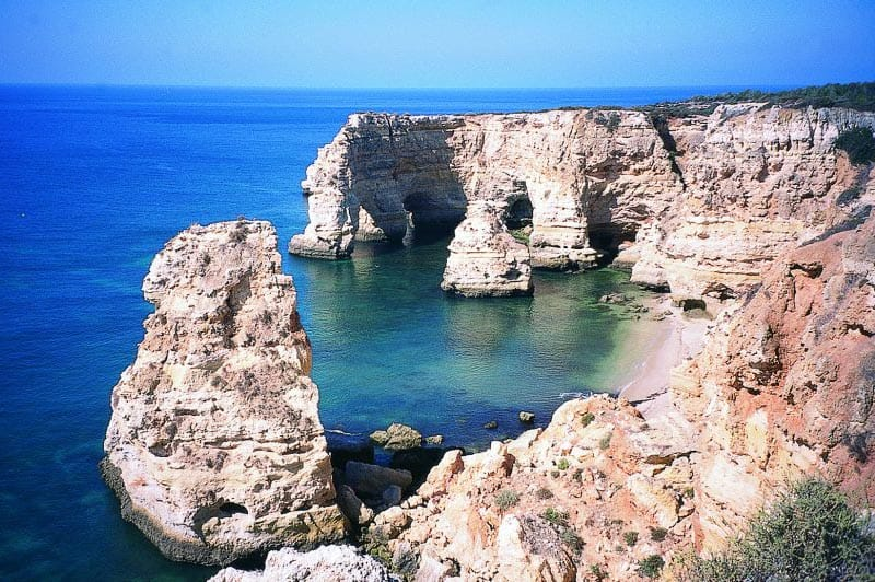 Cliffs in the Algarve, the far south region of Portugal.