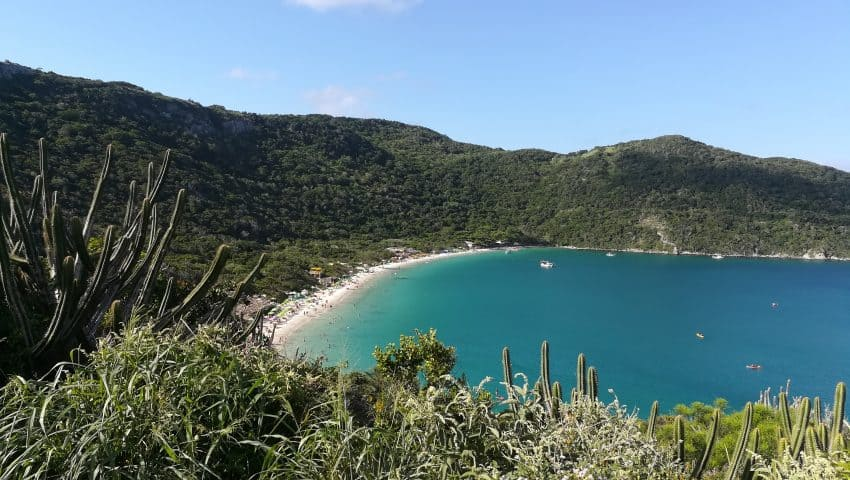 Forno Beach. This gorgeous landscape greets visitors on top of the hill next to the beach. After getting this first view, everybody just wants to run downstairs and jump into the clear sea. Carolina Brito photos.