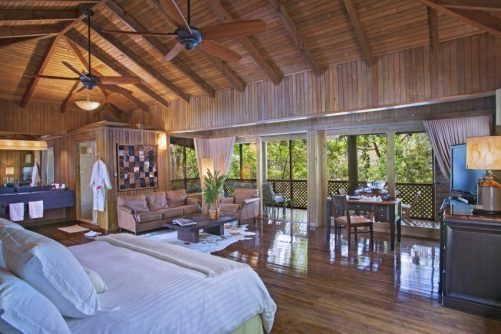 Inside of a bungalow as Las Lagunas Boutique Hotel in Flores, Guatemala