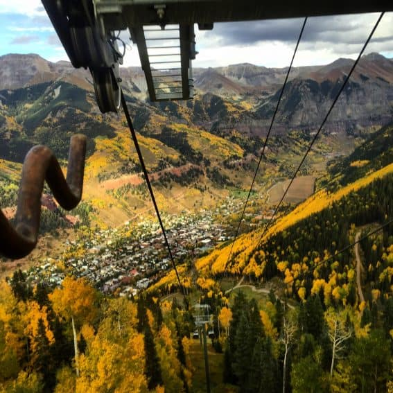 On the gondola at Telluride, Colorado. Rich Grant photos.