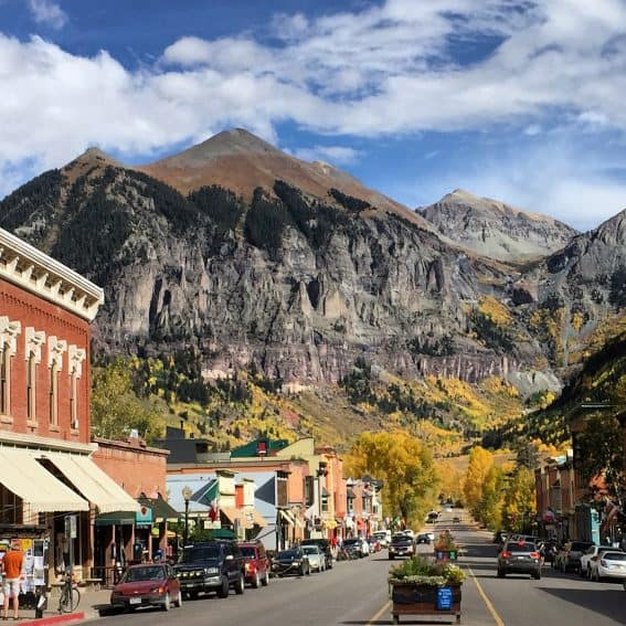 Downtown Telluride, Colorado, where you can get on the gondola for a free ride!