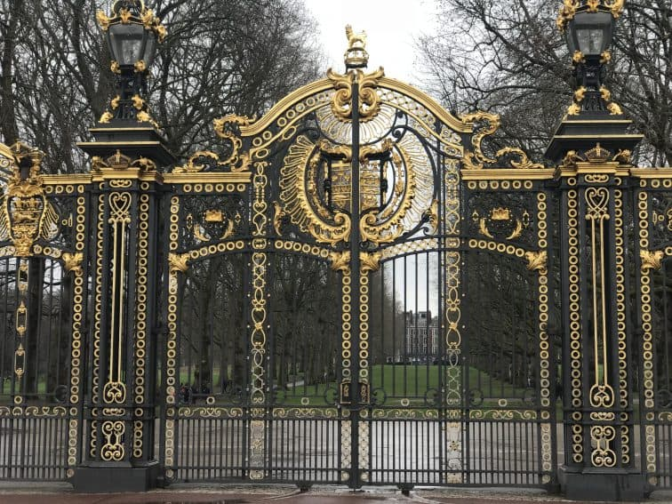 The beautiful gates of Buckingham Palace.