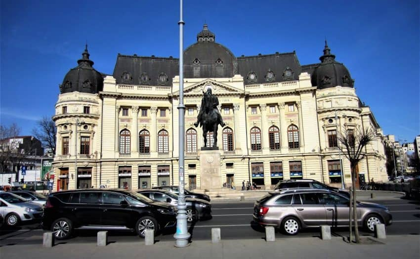 University Library in Bucharest, Romania, named after King Carol I - statue foreground on horse