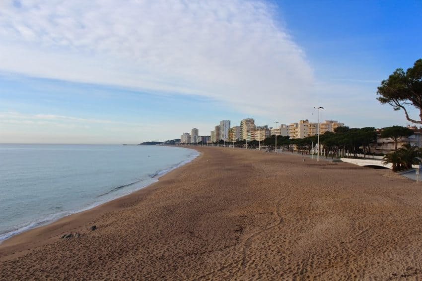 Waterfront at Platja d'Aro. During the high season this beach will be swarming with sunbathers and beachgoers competing for their spot.
