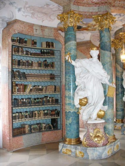 A bookshelf in the Wiblingen Abbey library. | GoNOMAD Travel