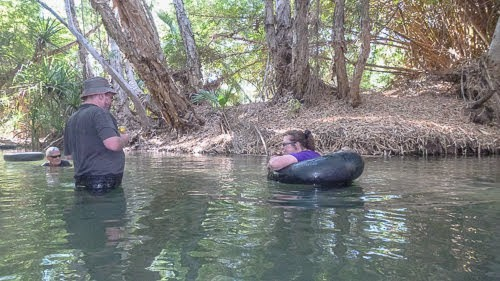 Floating blissfully on tire tubes at Lawn Hill Gorge, Queensland, Australia.
