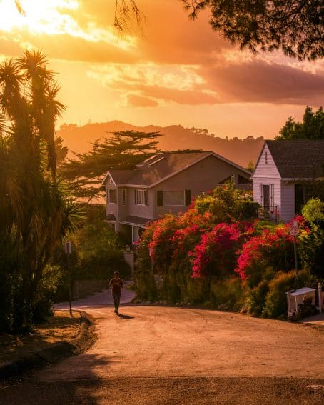 Hollywood Hills houses and someone jogging. I love how nature is greener over there.