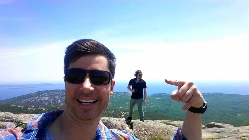 Author and friend reach their road-trip destination: Sunrise on Cadillac Mountain.