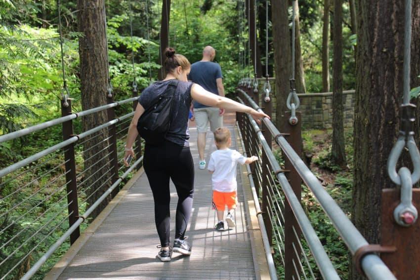 Crossing the forest bridge at Bellevue Botanic Gardens Walla Walla