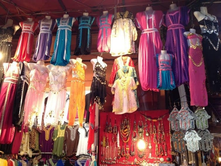 Colorful children's clothing in the market.