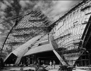 The Opera House shells under construction, 1965. Image: Max Dupain, State Library of NSW