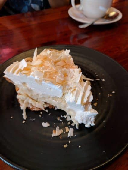 triple coconut cream pie at Dahlia in Seattle Crossing the forest bridge at Bellevue Botanic Gardens