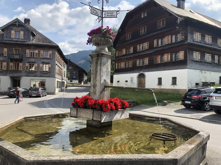 The center of the village of Schwarzenberg, a farming community in Western Austria.