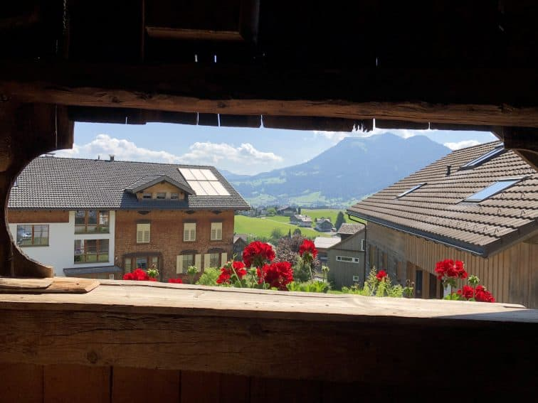 View from the Angelika Kauffmann museum in Schwarzenberg, which celebrates a very famous 19th-century painter who briefly lived in the village.