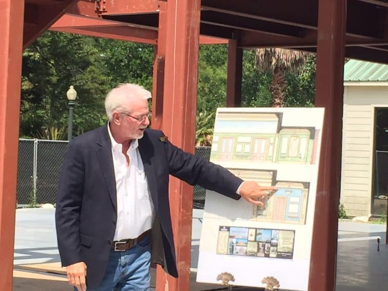 Kevin Kelly shows off the plans for the new history center at Houmas House Plantation. | GoNOMAD Travel