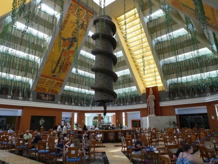 The Mayan inspired lobby bar of the 5-star Iberostar Paraiso Maya