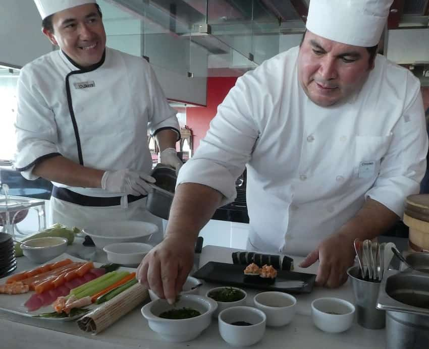 Iberostar Grand's Chef Christian (right) and Chef Octavio making ceviche and sushi