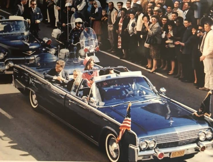 President Kennedy and First Lady Jacqueline Kennedy arrive in Dallas in this museum photo.