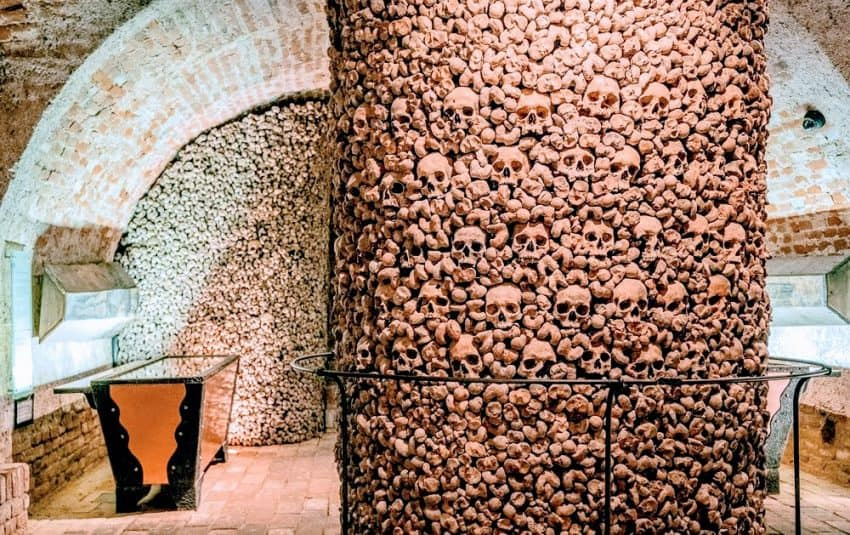 The Ossuary in Brno, located beneath the Church of St. James, holds the bones of over 50,000 people who died during the 17th century.