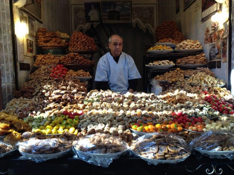 Pastry seller in the Medina at Fes, Morocco. Kim Ward photos.
