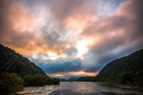 Sunrise at the confluence of the Shenandoah and Potomac Rivers in Harpers Ferry, WV.