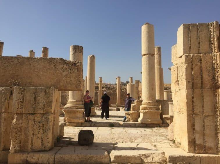 Wandering the columns at Jerash.